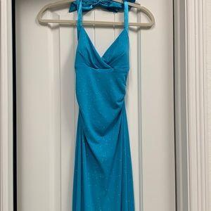 Blue halter top corset back formal dress